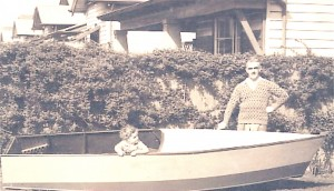 Pa's newly finished boat, with Captain Geoff aboard, West Brunswick, 1938