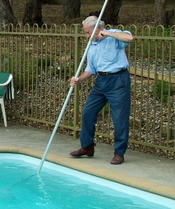 I really am cleaning the pool, Jeannie!