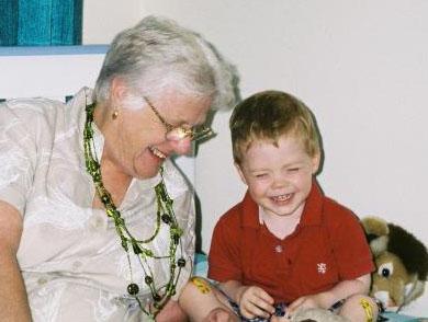 Sharing a joke with Grandma
